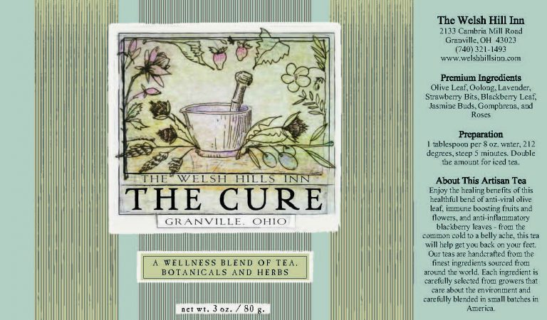 The Cure Homeopathic Wellness Olive and Oolong Tea Label | The Welsh Hills Inn