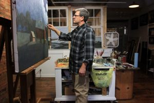 James Young Painting in His Granville Studio Above Kussmaul Gallery