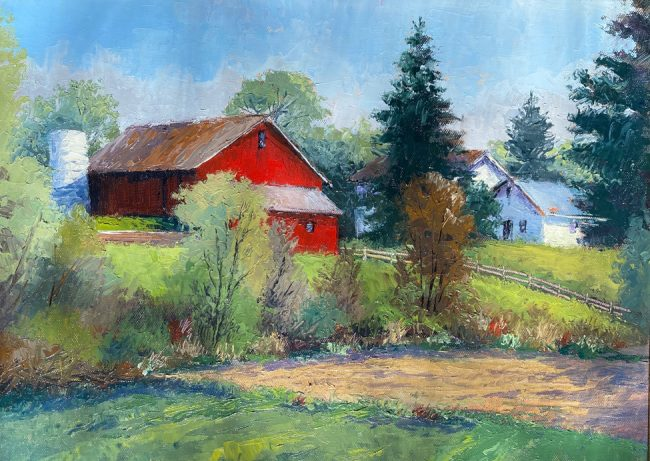 Hilltop Farm | Robin Roberts | 2020 | Oil on Cotton Canvas Board | Image Size 8x10 | Framed Size 11.5x13.5 | $775