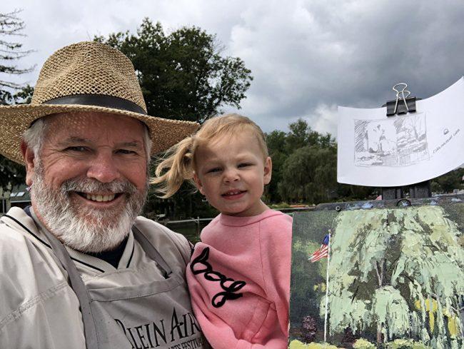 Robin Roberts and Granddaughter | Ohio Plein Air Artist | The Welsh Hills Inn
